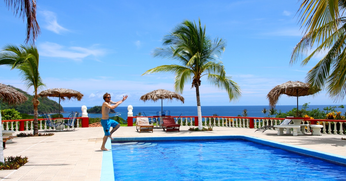 Paradise Jump! into the Sky Pool overlooking the ocean
