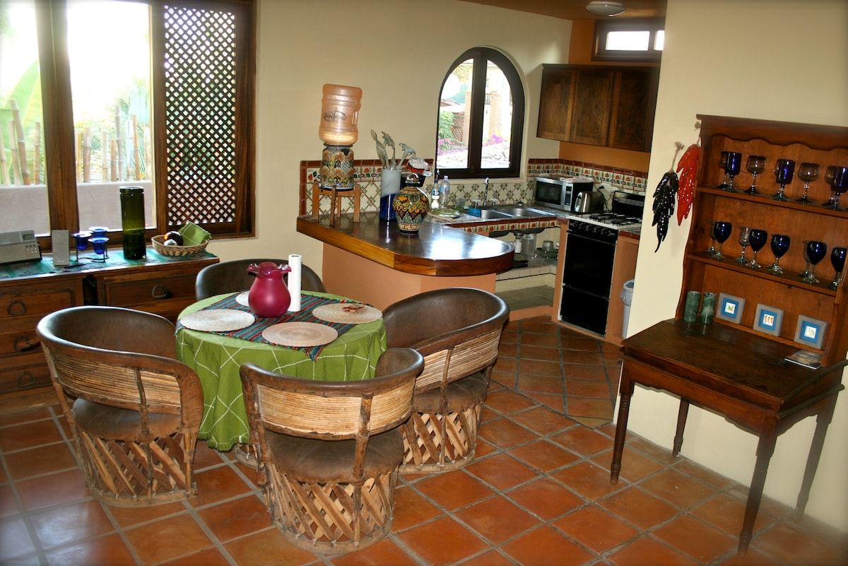 Terrace living room and kitchen