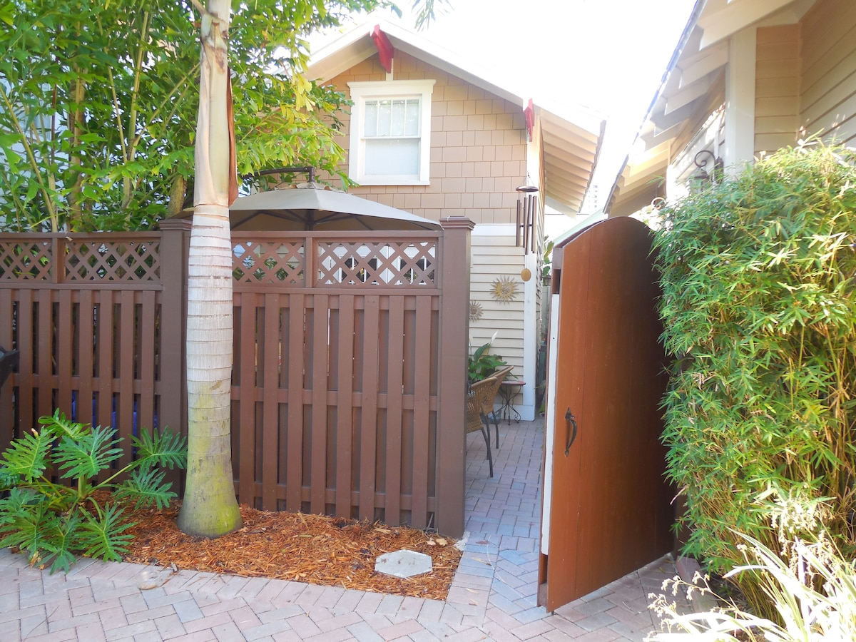 This is the gated courtyard to the cottage.  The cottage is on the left and the main house is on the right as you enter this gate.