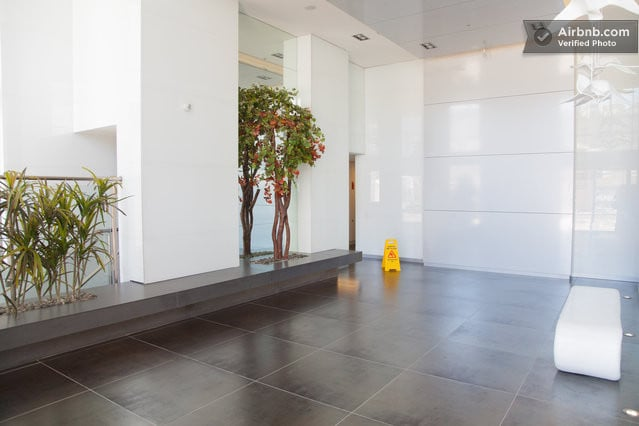 Lobby with electronic and chip protection on entrances.
