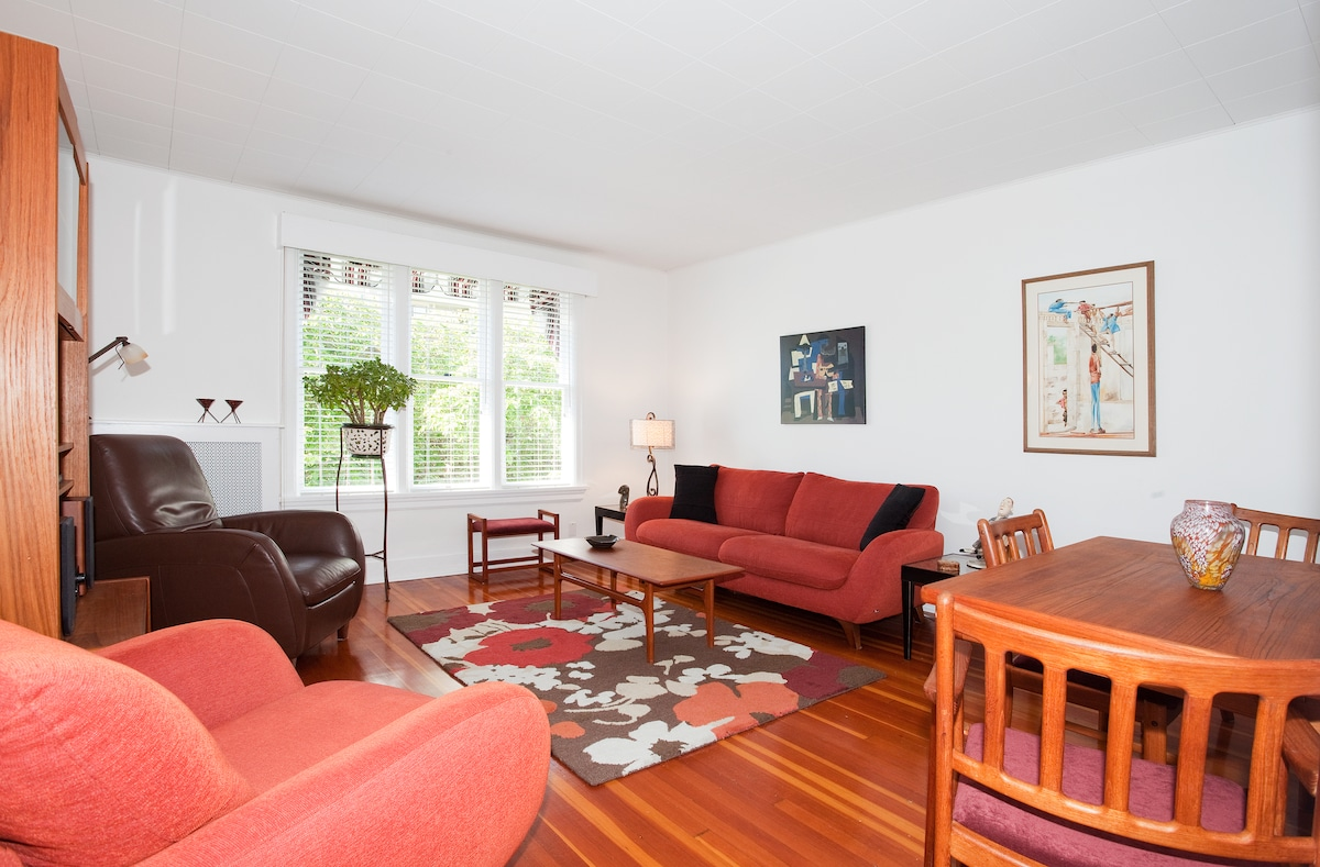 Large, bright, sunny and comfortable living/dining room.
