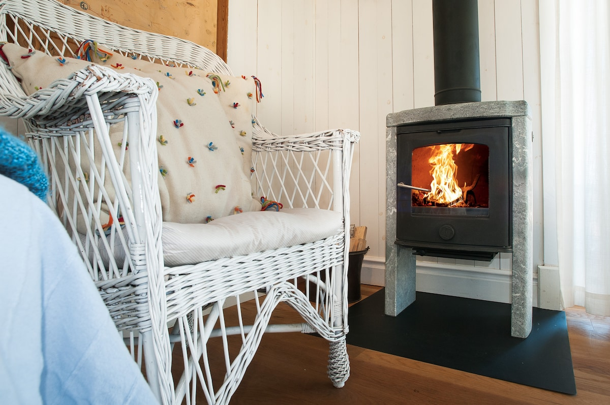 The fireplace is in great condition and firewood is included.