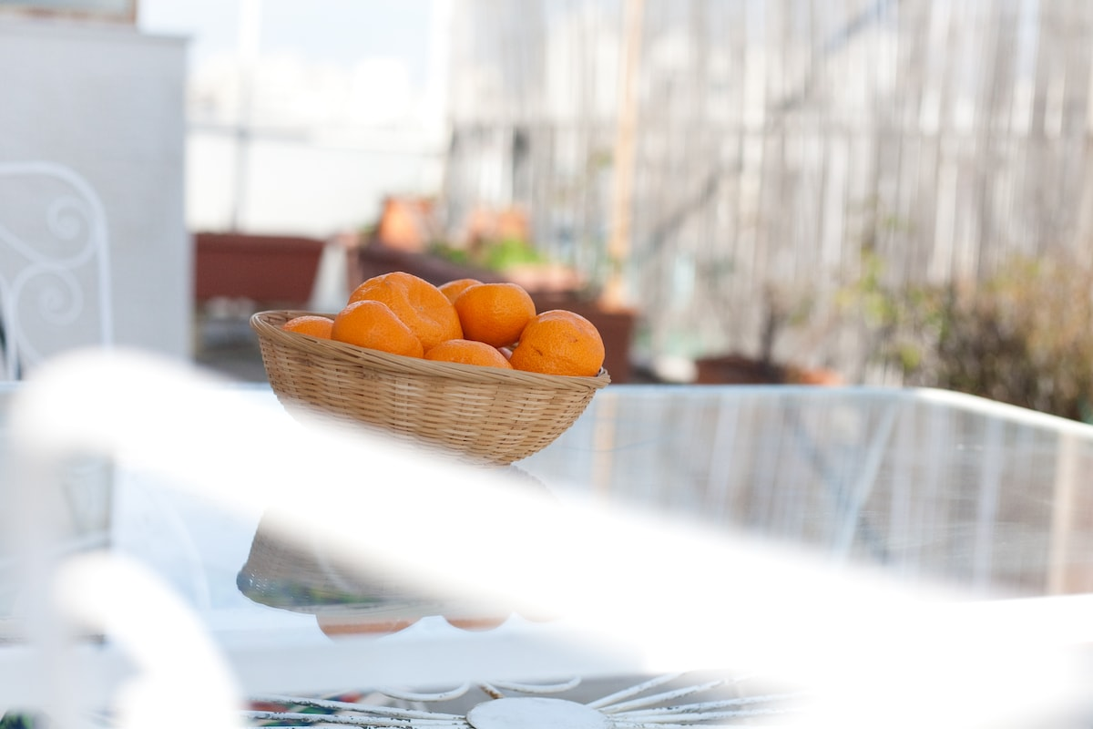The terrace is like a separate room--perfect for sunny mornings over coffee or evening meals under the stars.