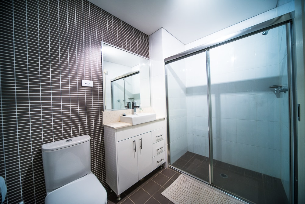 Your bathroom: good size with roomy shower