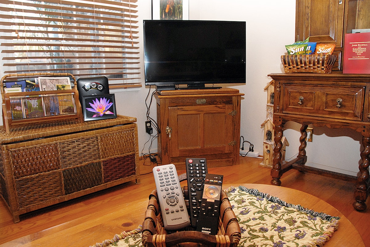 Entertainment. Local t.v., Netflix, Mario Bros., DVD and VCR player. Stereo is located between the love seats.