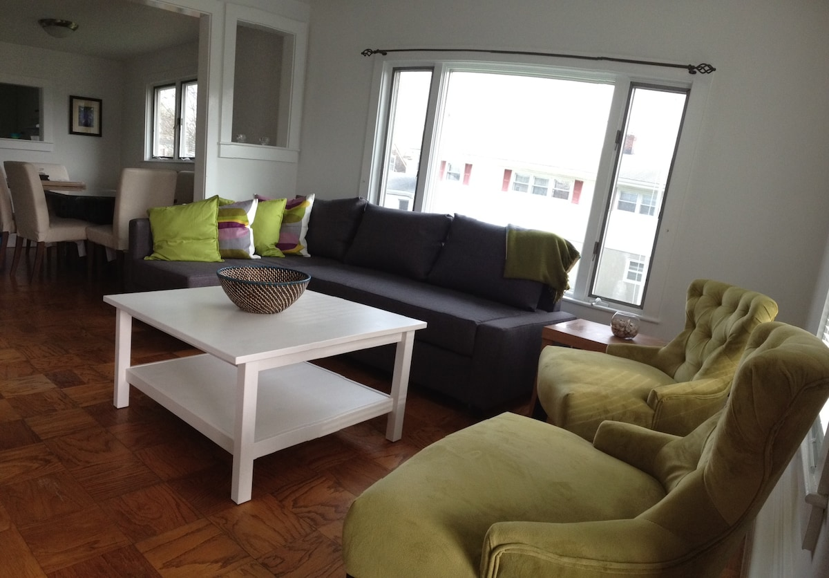 Living room - includes a couch sofa that turns into a full size bed. Flat screen TV with cable and internet