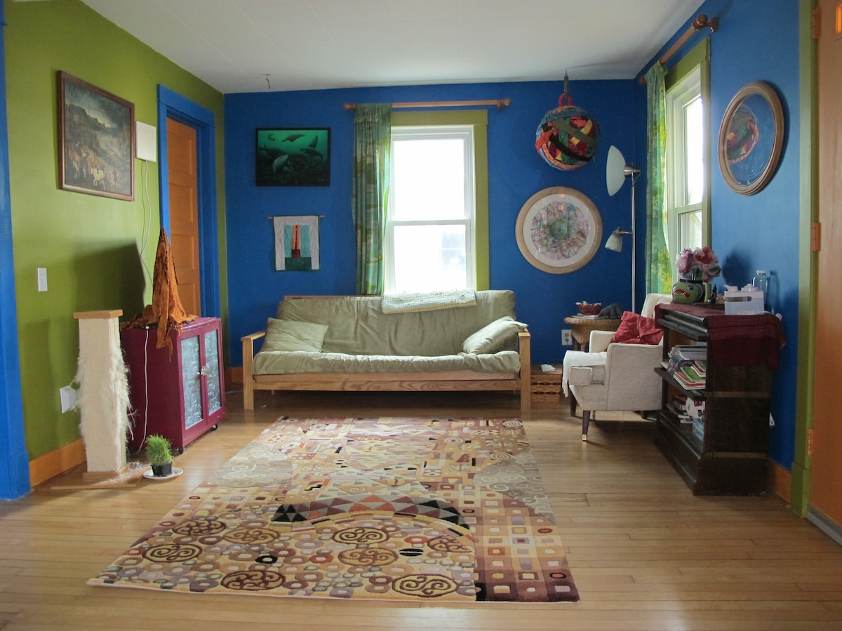 Colorful living room is a comfortable place to hang out.
