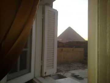 The view of the Pyramdis for the window of the main bedroom