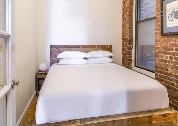 Bedroom with queen memory-foam bed.