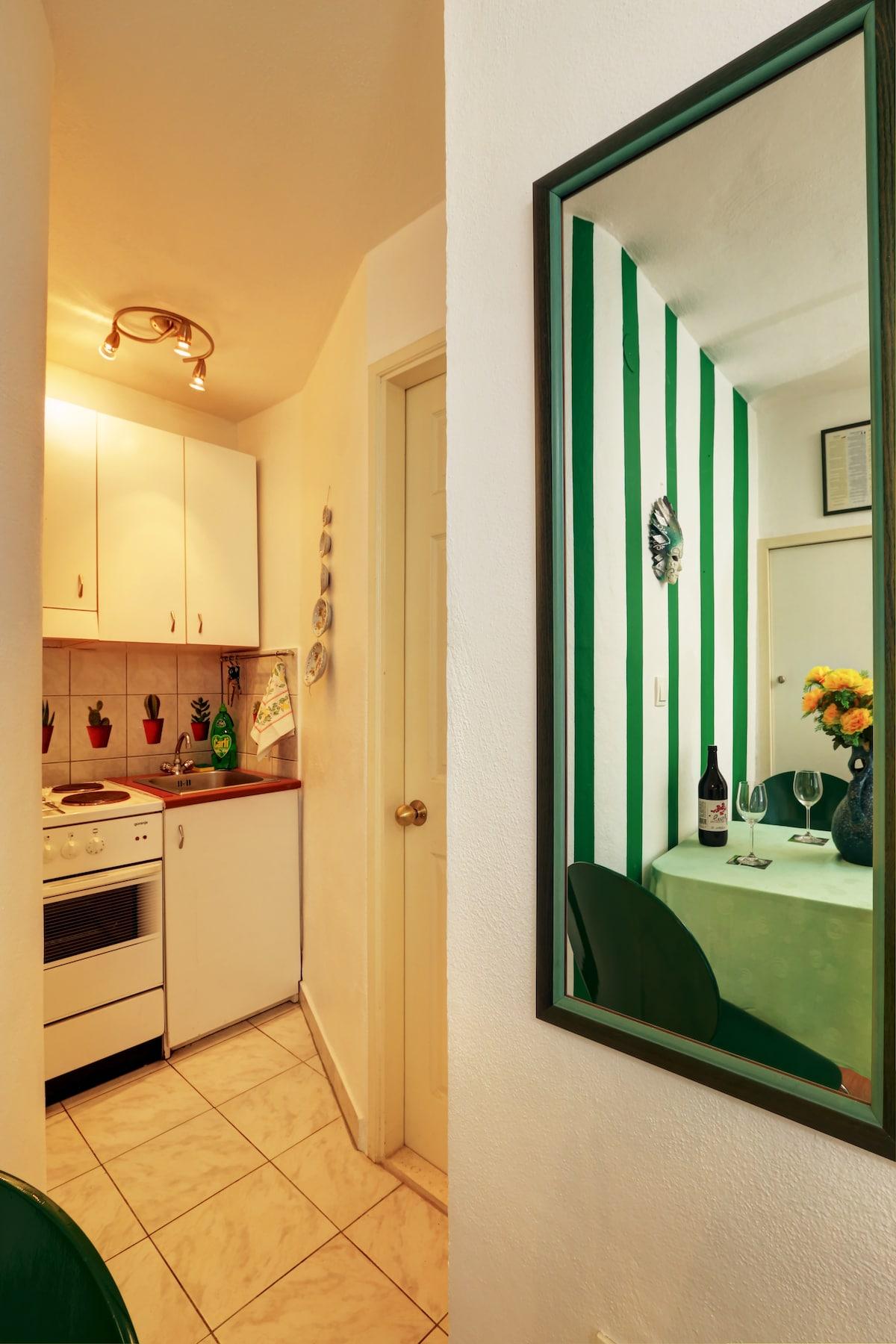 "Seafront studio apartment ""Green"""