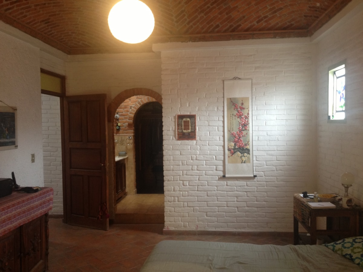 Main room with dress room, chimney and bath