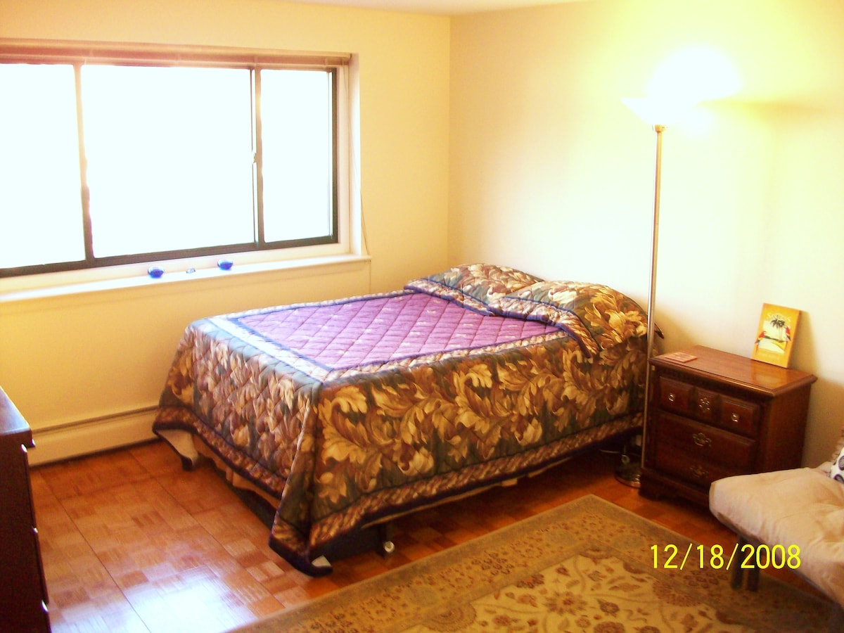 1st Bedroom w/ 1 Queen Bed, 1 Single Bed, Desk, Chair, Bookcase, and Dresser, etc.