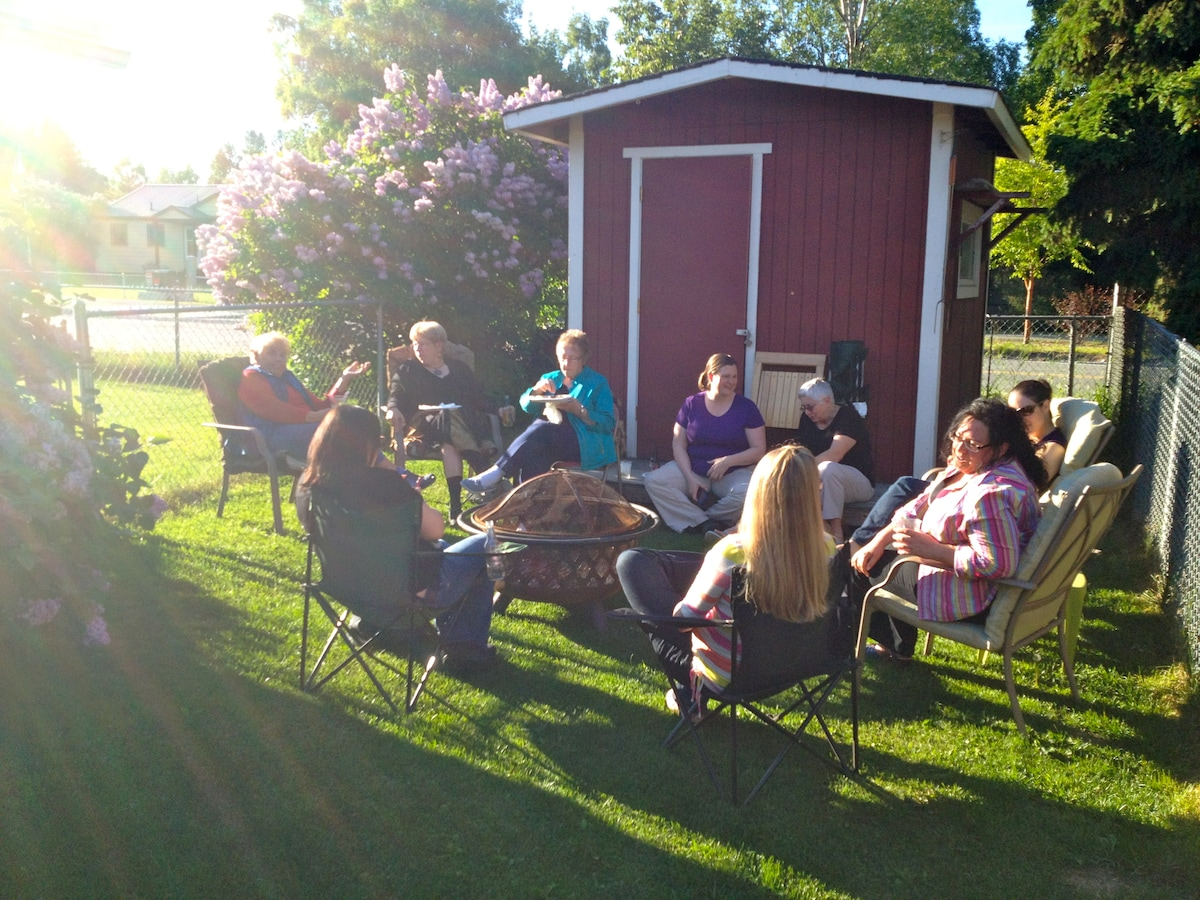 A summer gathering in the backyard