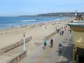 Mission Beach boardwalk.  Walk, run, cycle or play on the beach.