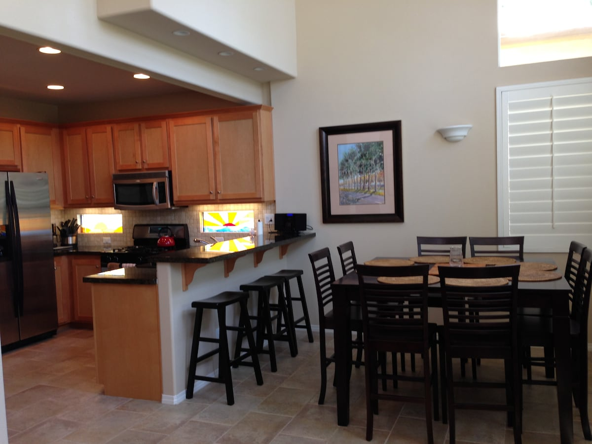 View of kitchen and dining area