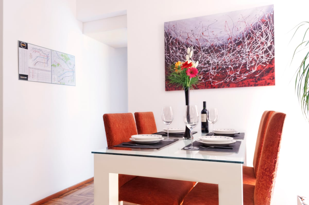 Dinning area with modern furniture.