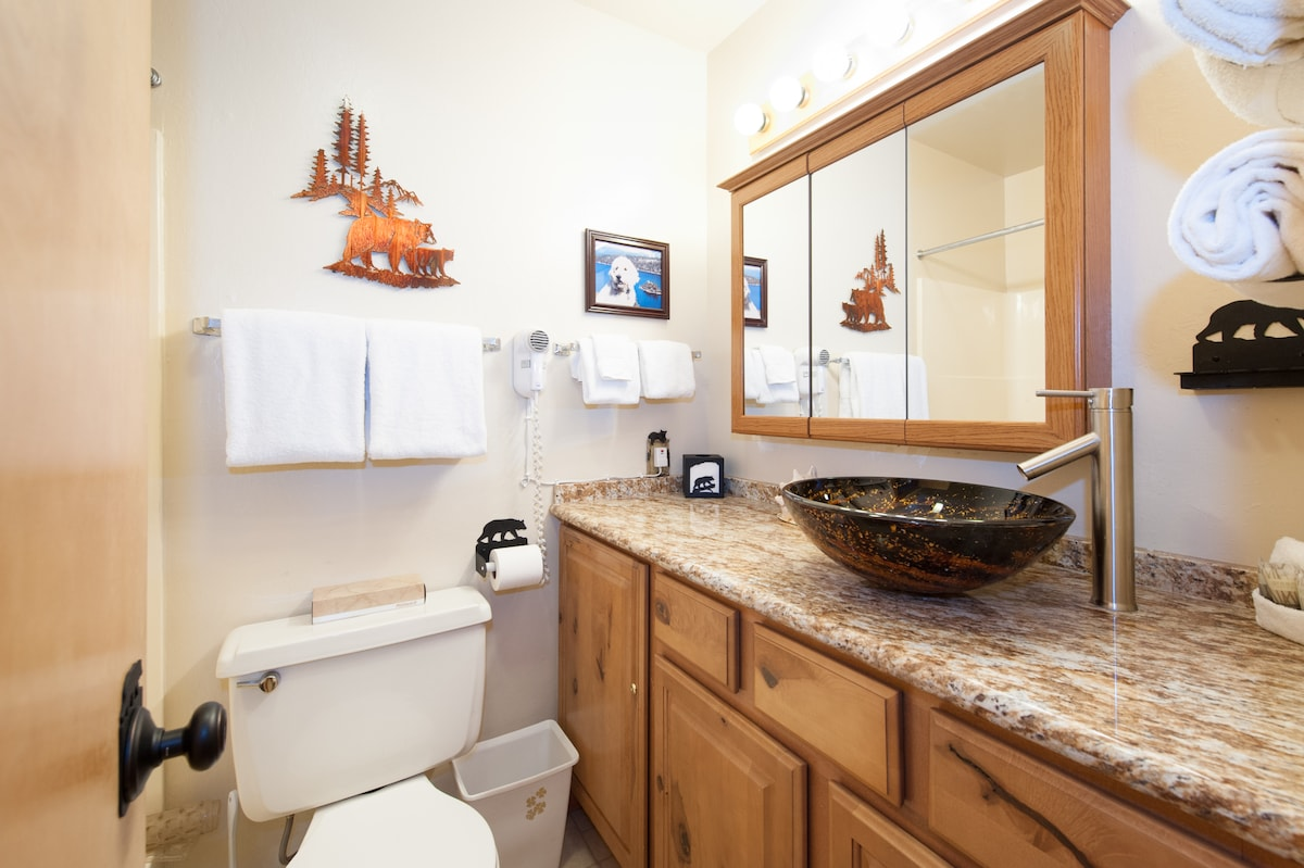 New granite countertops and new cabnets with vessel sink