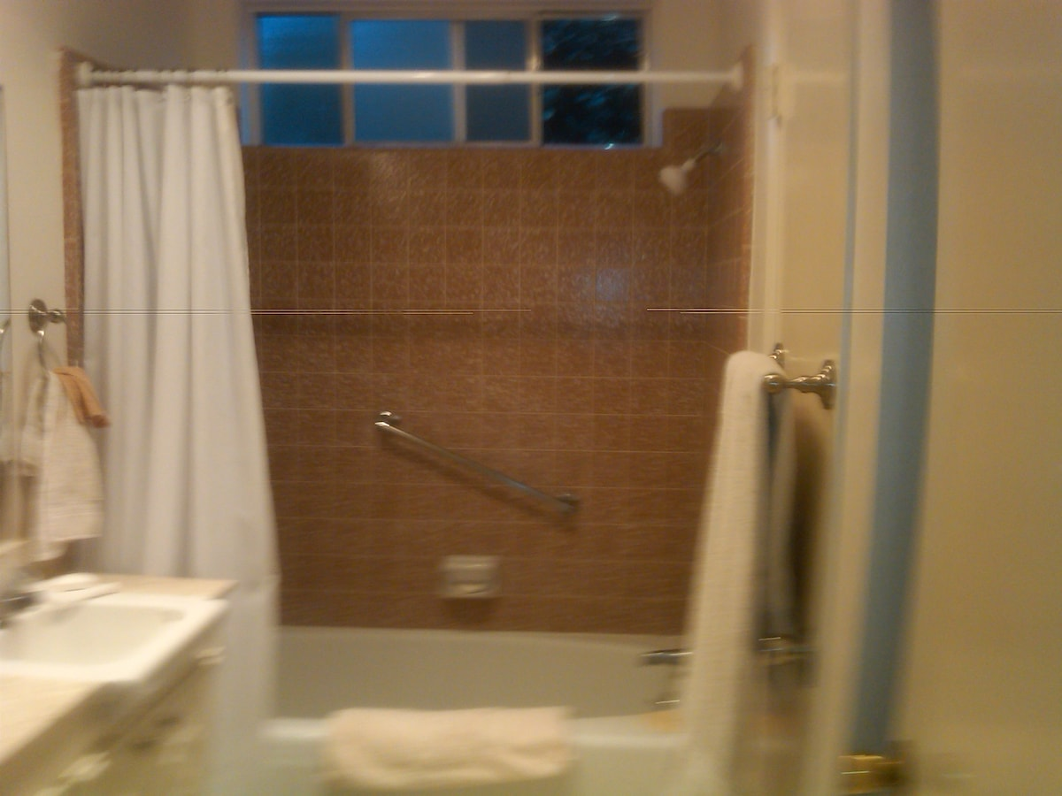 View of bathtub and shower.