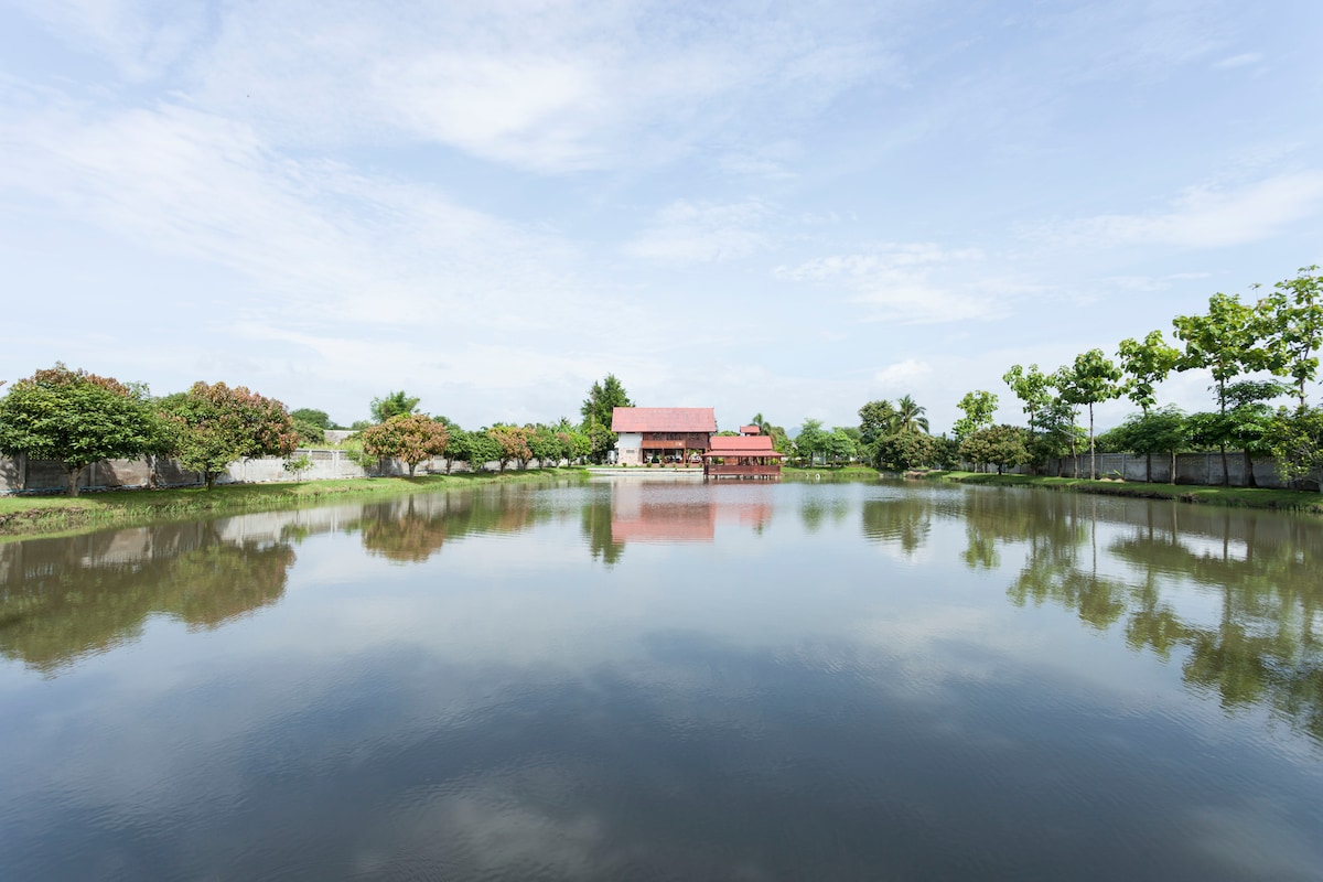 View of the house from the other end of the pond.