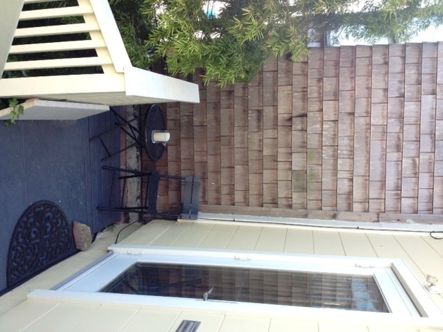 Your entrance and outdoor sitting area
