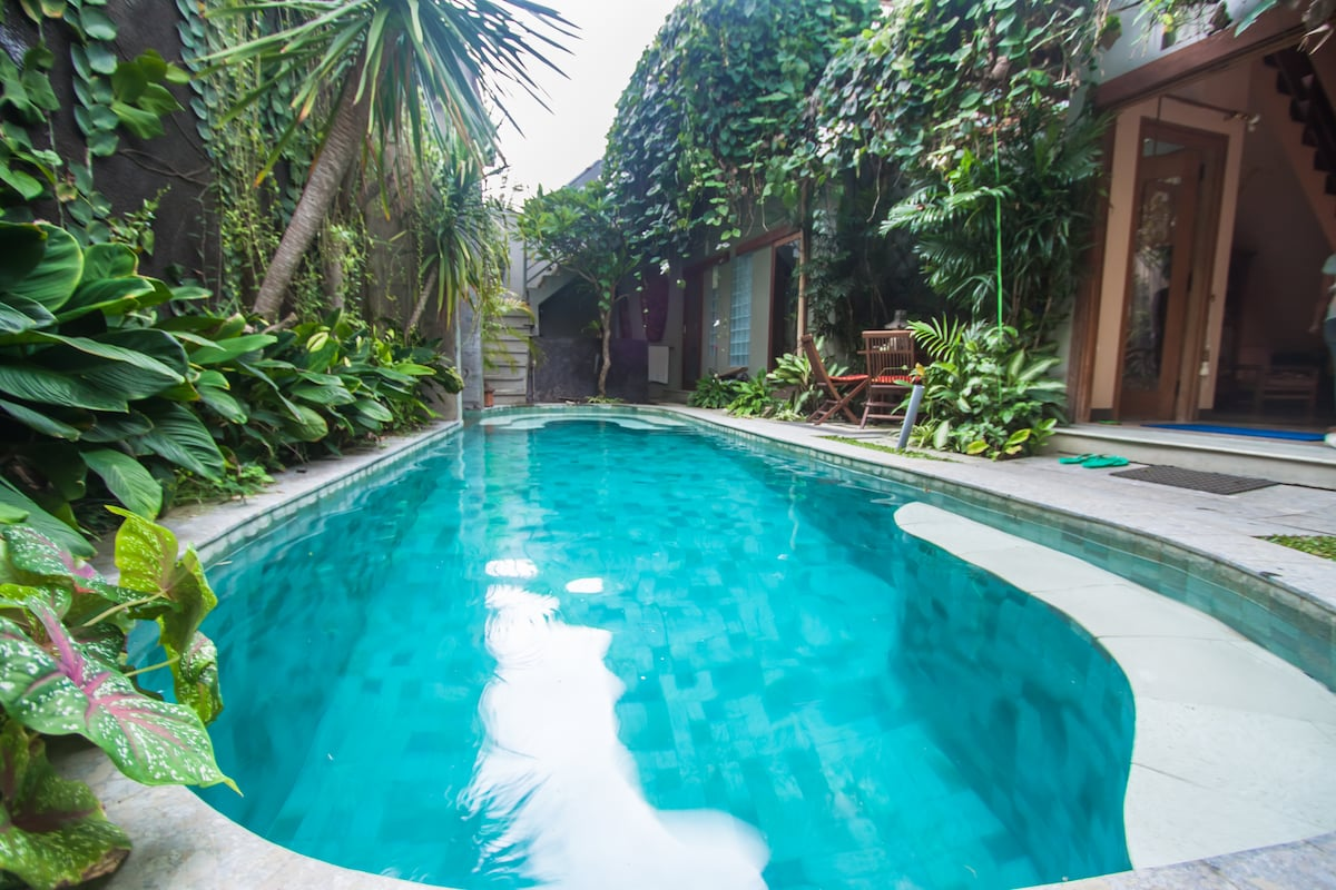 8 X 3 metre pool with sunbeds, table & chairs, beautiful tropical garden