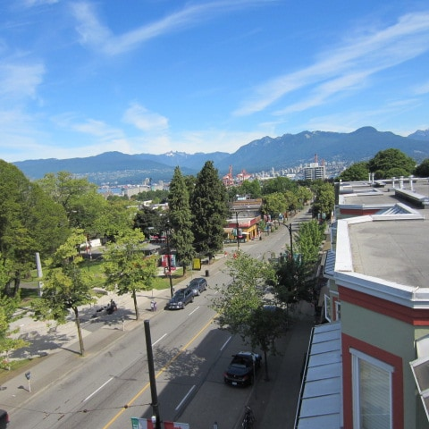 View of Commercial Drive from Rooftop Deck