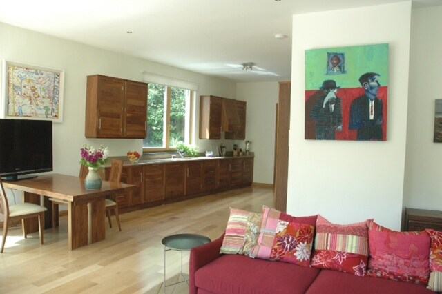 Living area into the hand-crafted kitchen