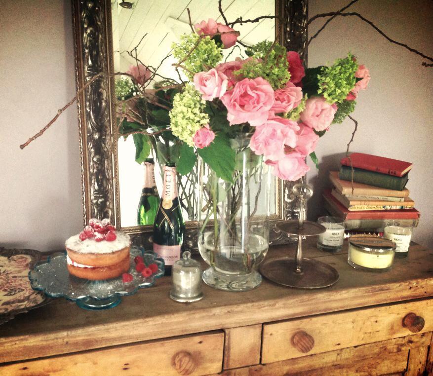 Fresh cut roses and hydrangeas from our gardan