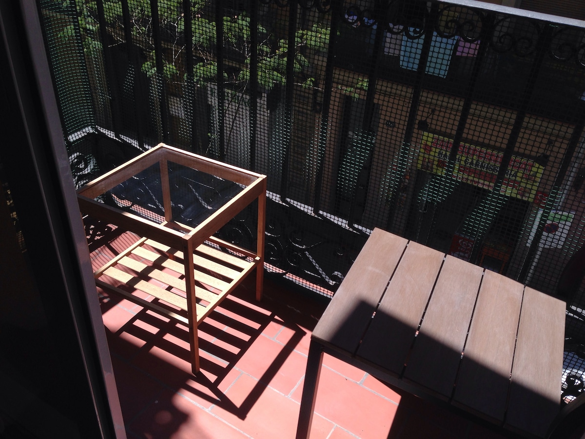Private balcony with chair and table — great for morning coffee