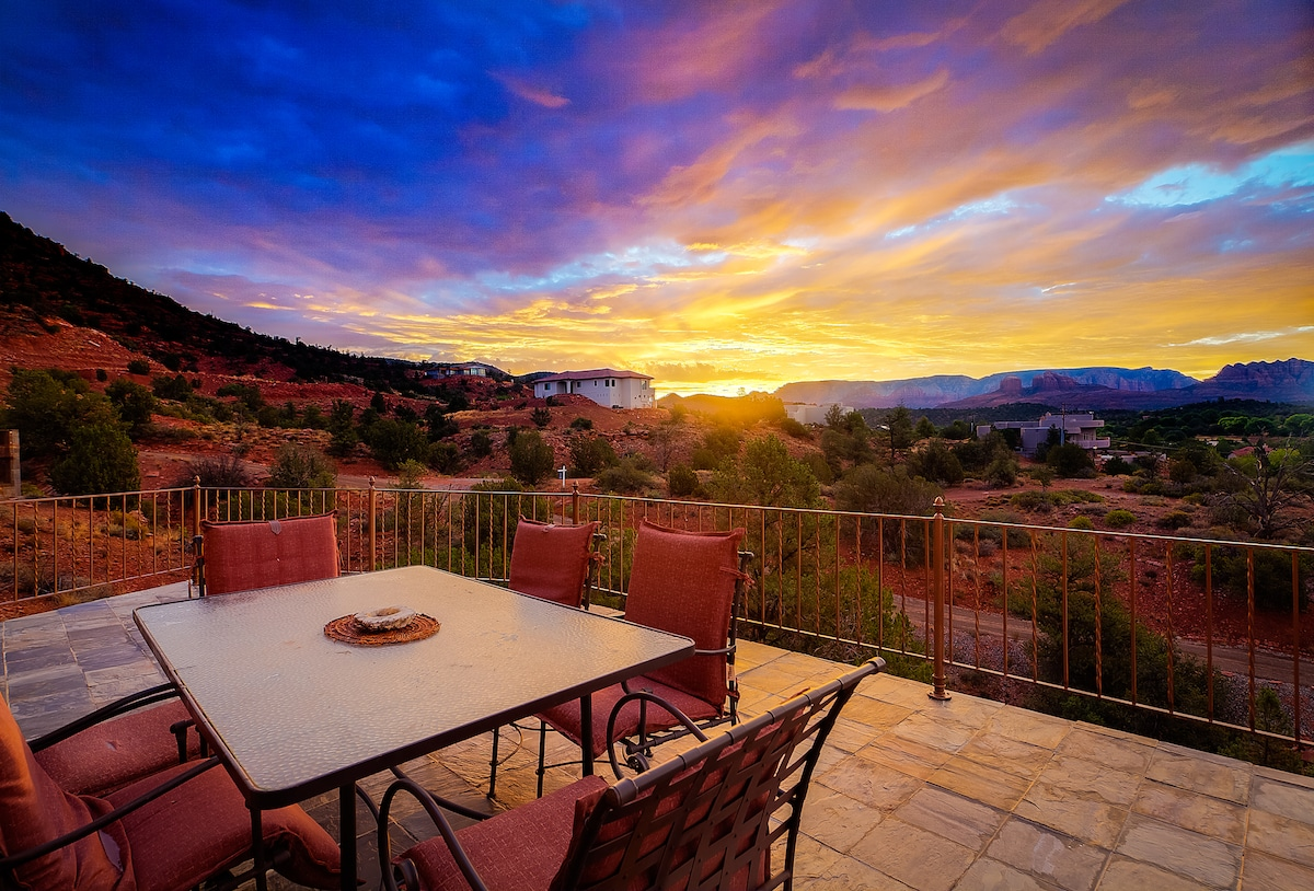 From the deck you will see far reaching views of red rock formations