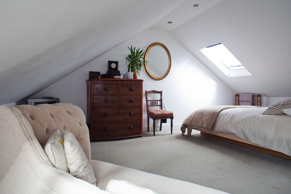 Serene Room is huge with sofa, kingsize bed, lots of storage and cot/airbed available for extra guests 24sqm