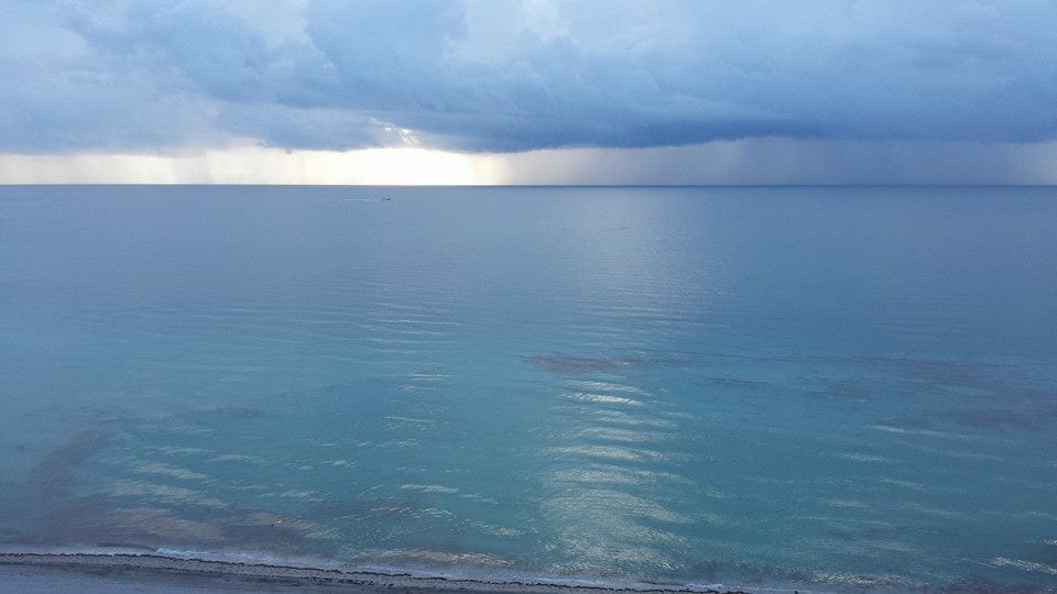View from the apt of the Ocean on a Stormy day