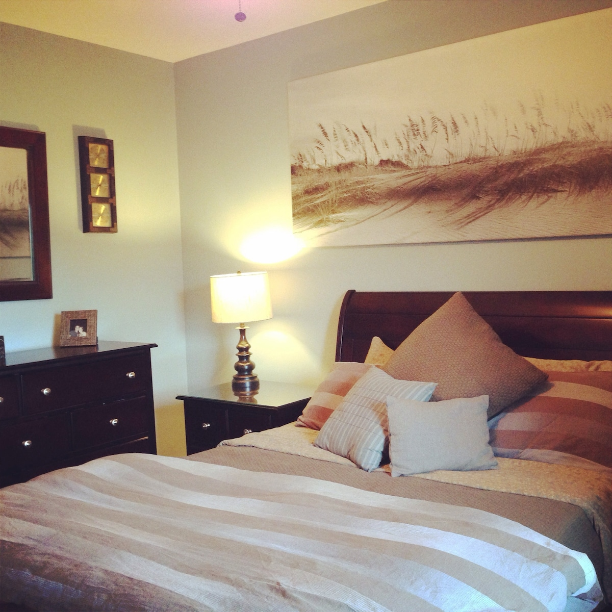 Bedroom with queen bed, two large closets, window, ceiling fan and plenty of drawer space.