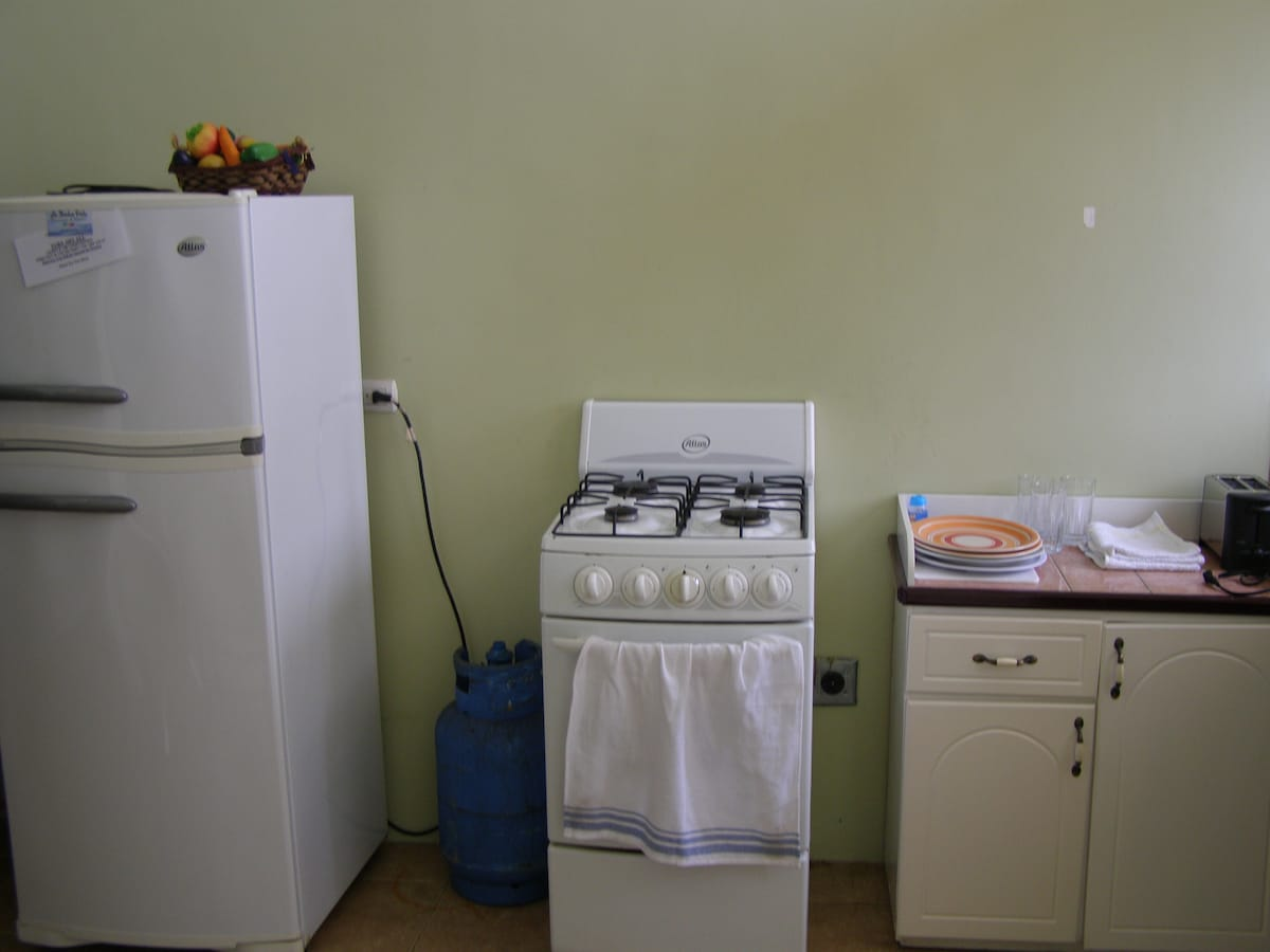 Refrigerator, 4 burner stove and oven, kitchen cabinet