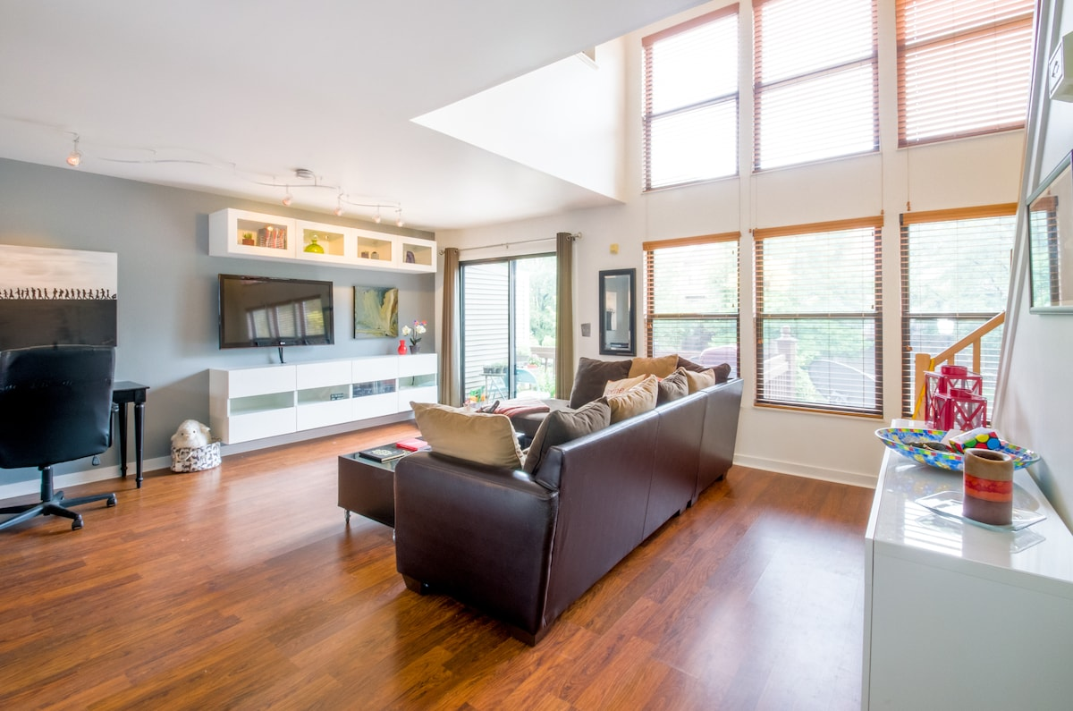 The back of our home includes six South-facing windows that provide the house with PLENTY of natural light throughout the day.