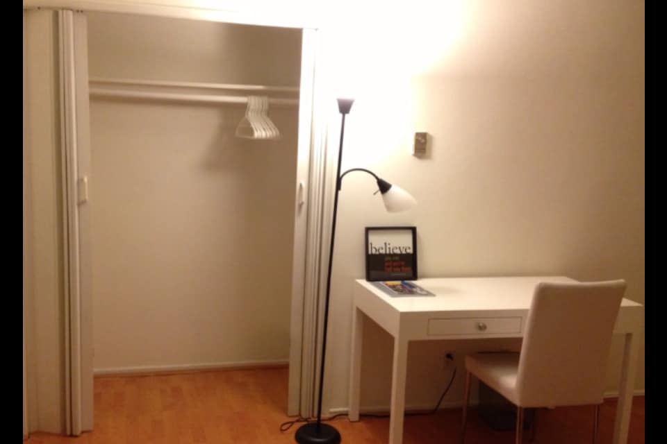 Spacious closet and desk for your use