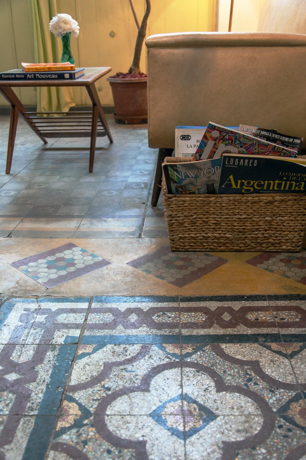Details of the original tile floors. Gorgeous.