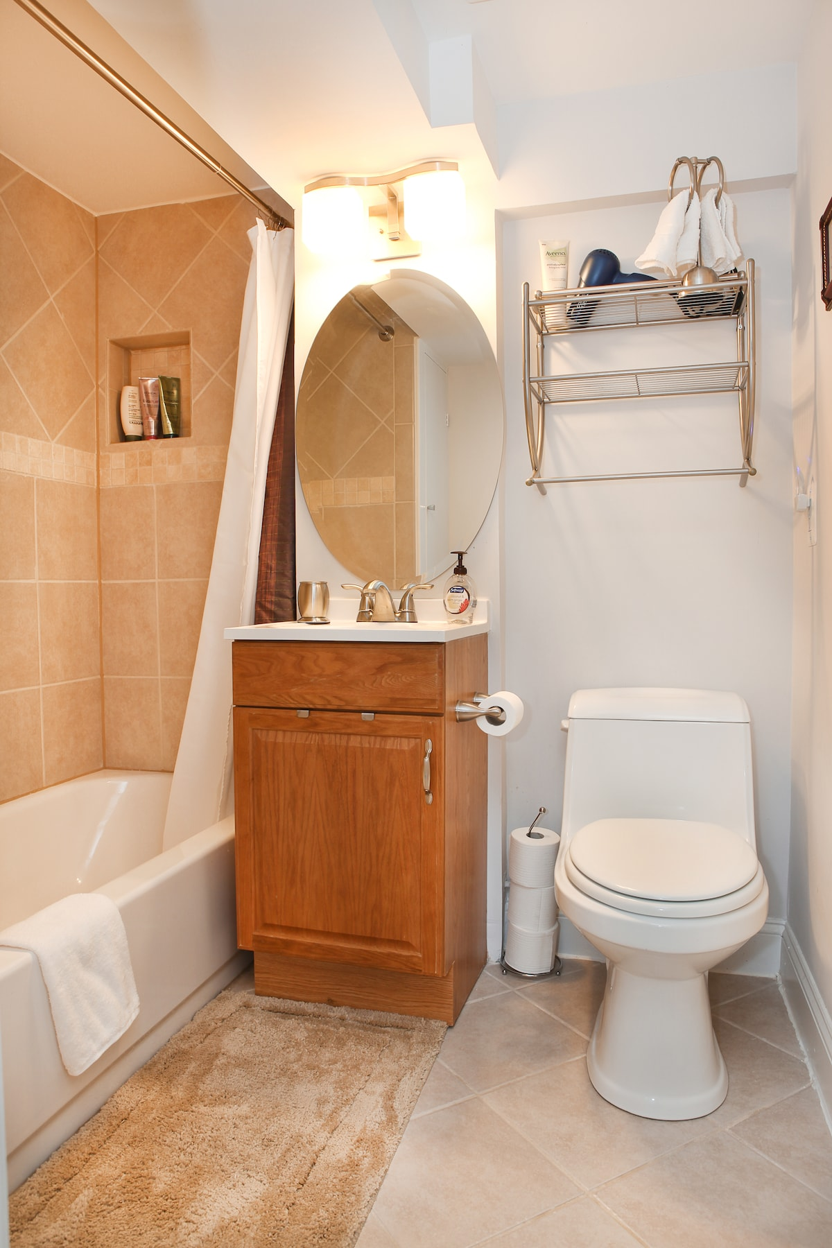 Well appointed clean and freshly renovated guest's private bathroom.