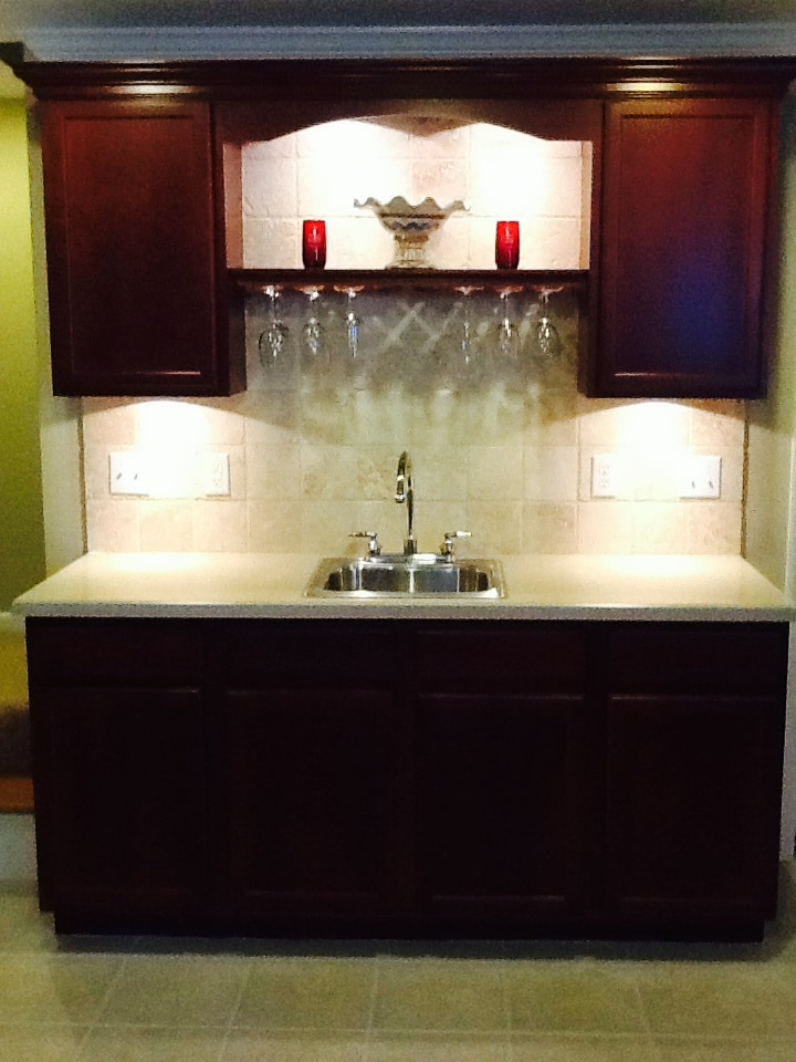 Newly installed wet bar in the walk out basement suite you will be staying in.