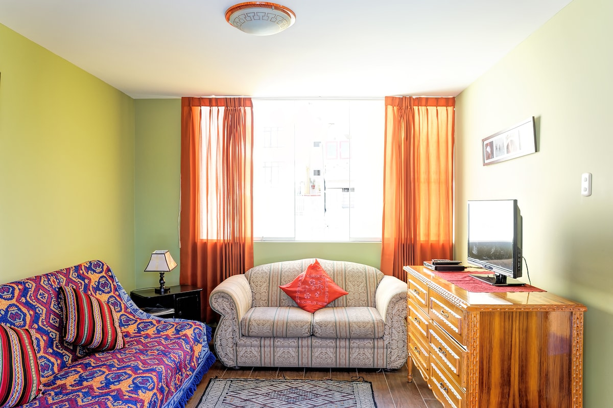 Large living room with sofa bed for 2.