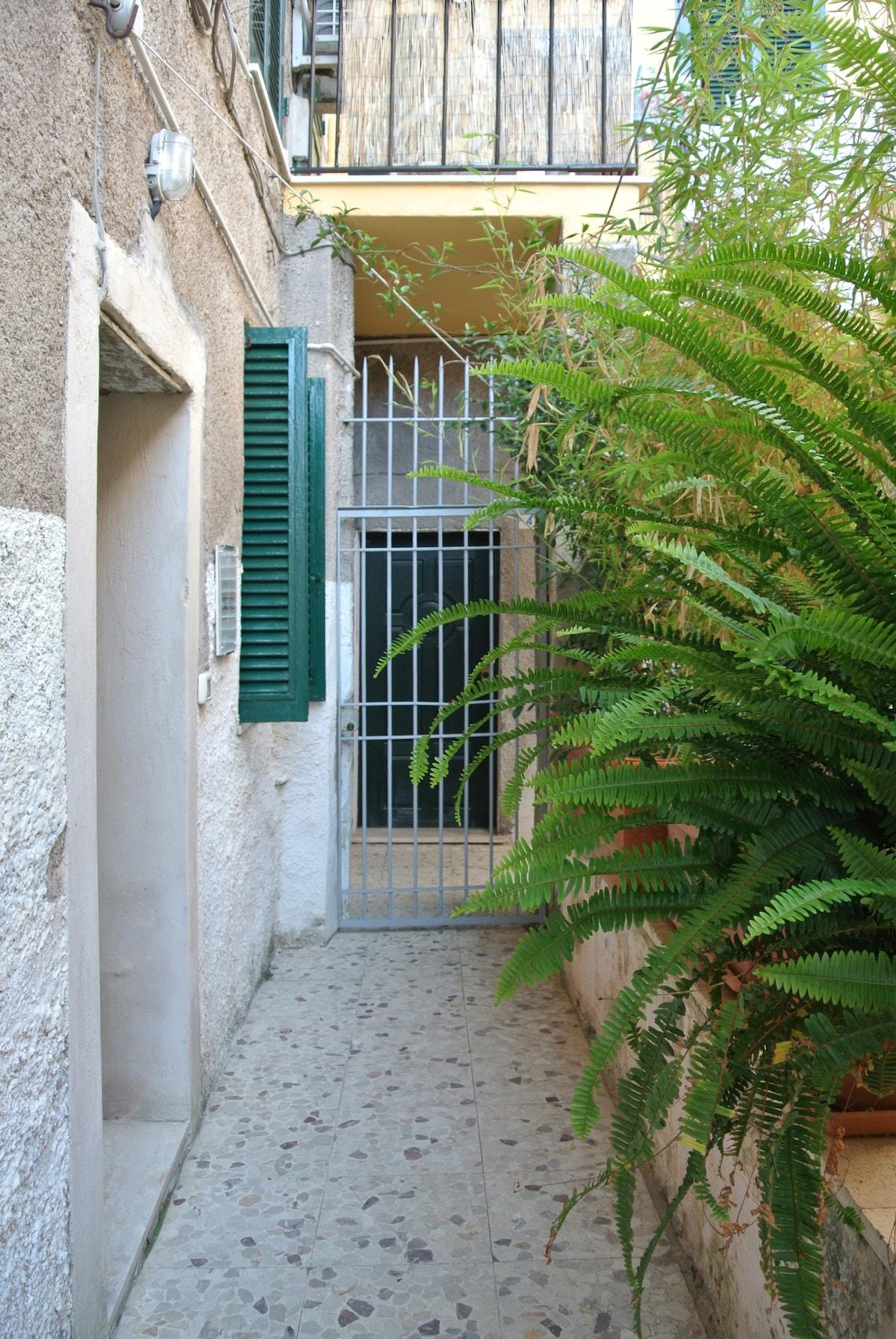 Un'entrata raccolta accompagnata dall'ombra di piante sempreverdi