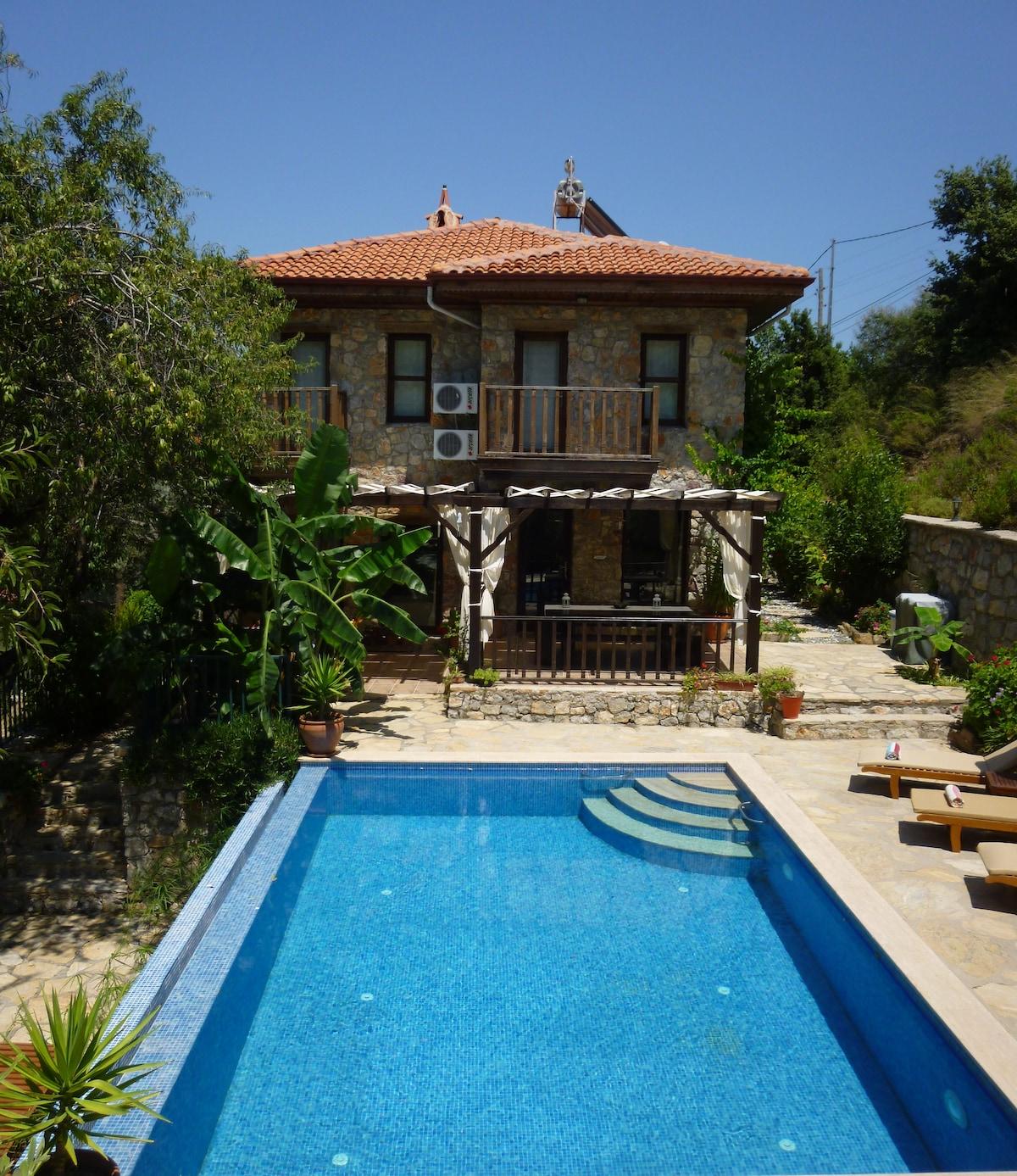 Villa Gelincik - villa, pool and sunbathing area