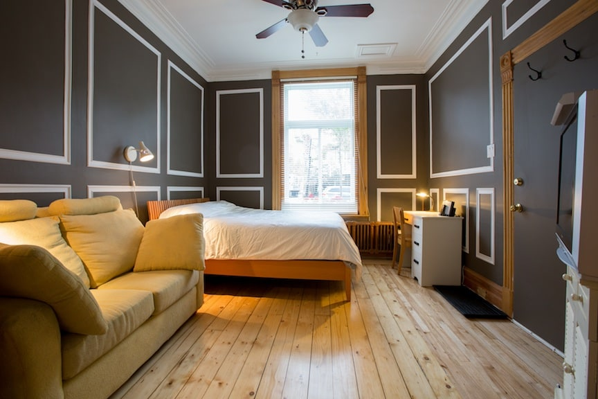 Exceptionally comfortable bed and ceiling fan