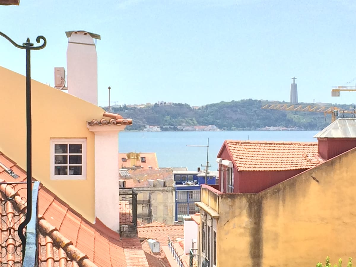 The Tagus river meeting the Atlantic  Ocean in front of the city of Lisbon
