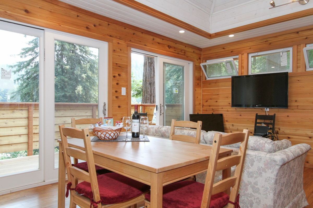 A grand welcome! upper level living area with double sliders and vaulted ceiling.  New TV and new furnishings