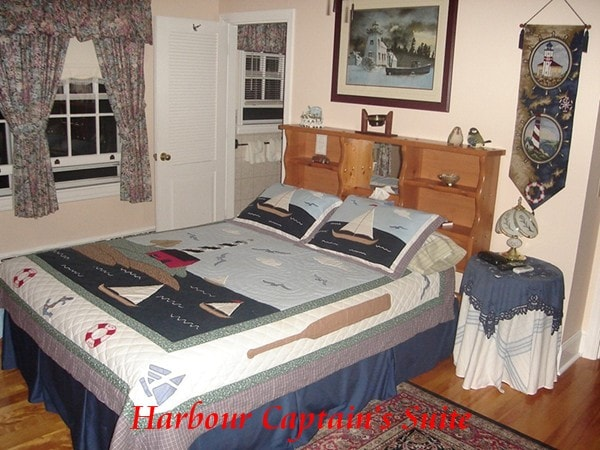 The Harbour Captain's Suite with 3 pc bath. A futon is provided for children accompanied by parents. Adult family, 18 and over, will require a second room.