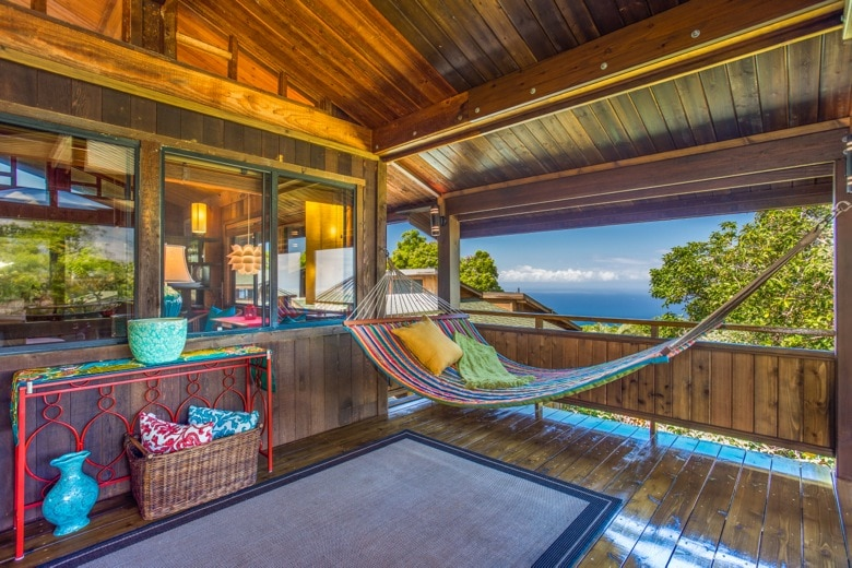The cottage lanai, with two-person hammock, looking west.