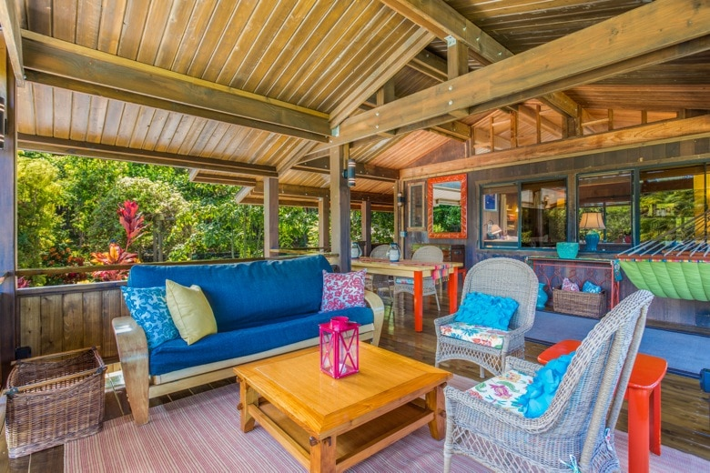 The cottage lanai seating area; view to the east.