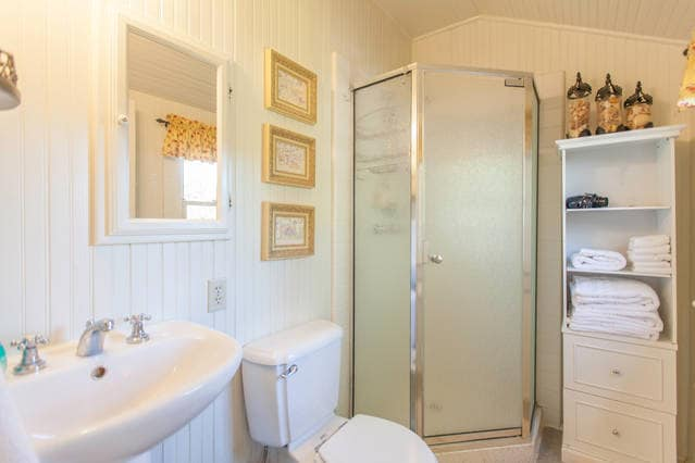 Super clean bathroom and plush towels for you!