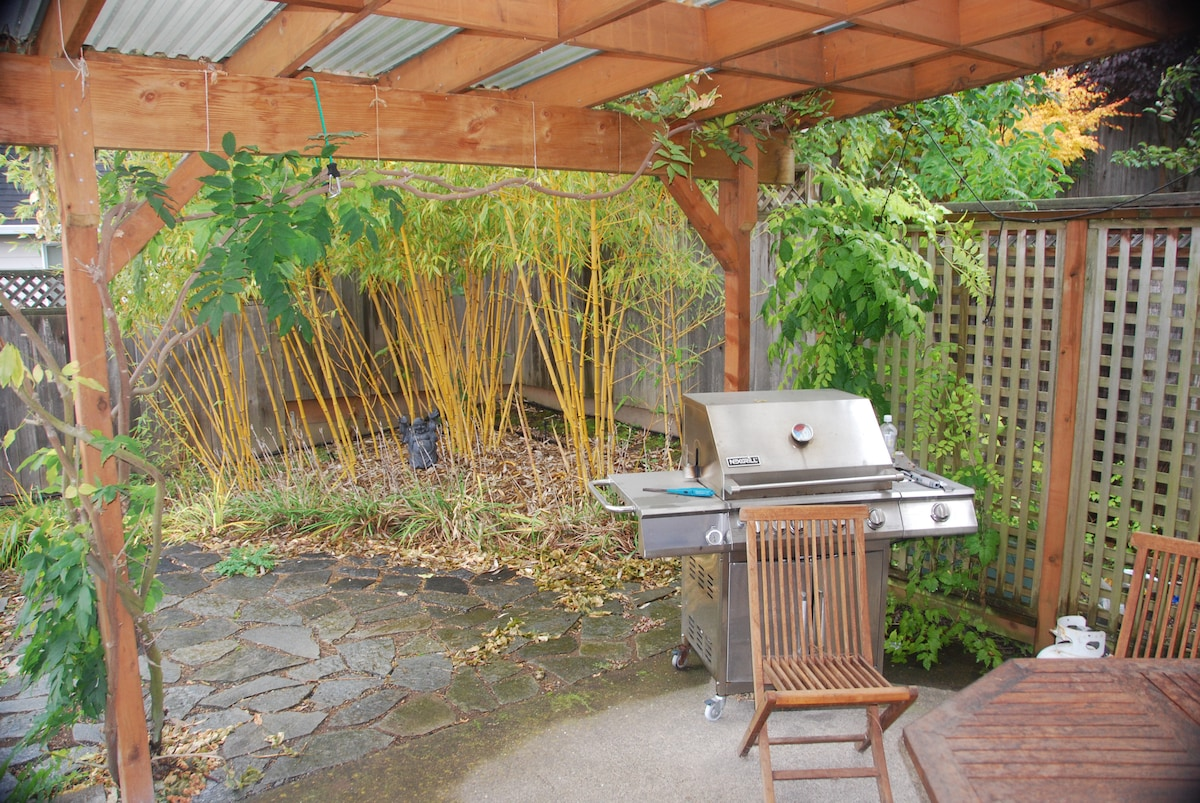 Covered back patio with grill